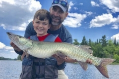 Cael Trustem, age 9, Neenah, WI, 38 1/2-incher on LOTW. He's seen with his dad, Ben.