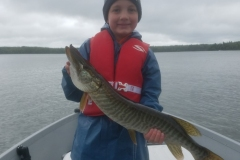 Jake Hahn, age 8, Twin Lakes, WI, 28-inch tiger (first musky), Cedar Lake, ON.