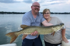Shannon Harmon, Vicksburg, MI, 35-incher (first musky), Austin Lake, MI. With her cousin, Rod Dailey.