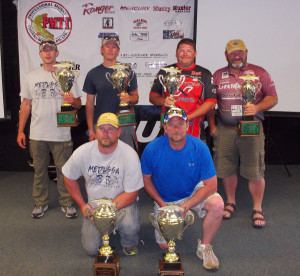 Top teams at the PMTT Qualifier in Eagle River are, from left: front — first place team of Brian Krelle of Eagle River, Wisconsin, and Tim Miller of Sugar Camp, Wisconsin; back row — second place team of Nate Osfer of Marathon City, Wisconsin, and Matt Raley of Minoqua, Wisconsin; third place team of Jonathon Stewart and Dewey Stewart of Pawnee, Illinois.