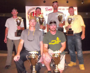 Top three teams in the PMTT qualifier on the Madison Chain include, from left: front — first place team of Ben and Matt Michlig; back — second place team of Nate Osfer and Matt Raley; third place team of Rick McClellan and Jesse Dobush.